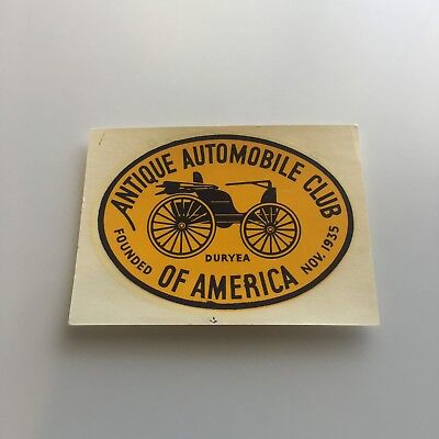 Vintage Antique Automobile Club of America Duryea Window Decal Sticker Palm 2.5""