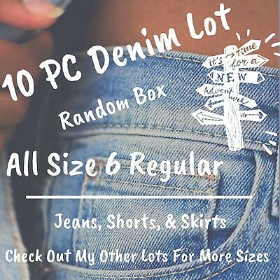 Womens Size 6 Denim Jeans Skirts Shorts 10 Piece Lot Name Brands