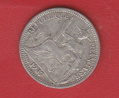 Indochine Francaise 10 Cents 1937 Silver
