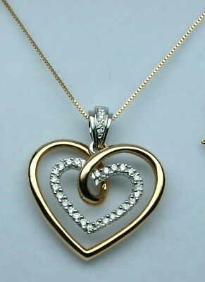 Diamond Designer heart pendant 1/2ct tw 14kt rose gold No Reserve  EXCELLENT