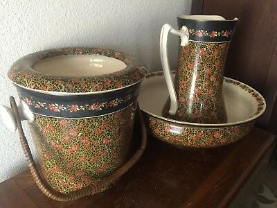 Antique Victorian Chamber Pot, Pitcher & Wash Bowl By Maple Of London -  RARE!