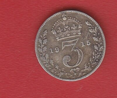 Great Britain 3 Pence 1915 Silver