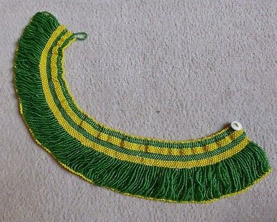Superb Vintage South African Bead Work Collar Necklace Green & Yellow Beads Nr!
