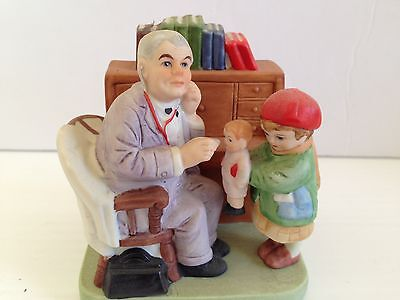 "Norman Rockwell Danbury Mint Figurine...."" Doctor And Doll  """