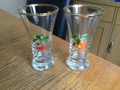 2 X Vintage Glasses Large Sherry Schooners  1 Cherry/1 Orange Design VGC!