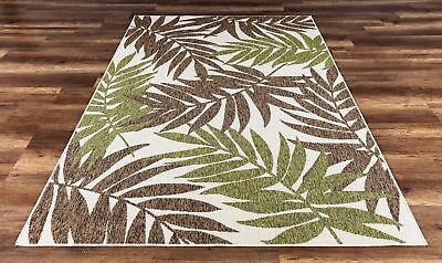 Tropical High Quality Indoor Outdoor Rug Green Brown 5 3 X 7 7