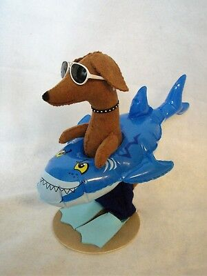 Dachshund Red Brown Doxie Shark  Floatie Shark Week Summer Decor Felt Sculpture