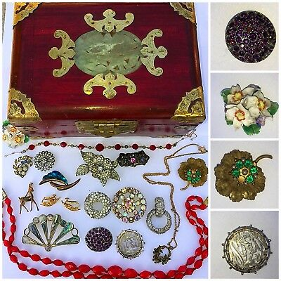Job Lot Antique Vintage Jewellery inc Silver, Bone China in Chinese Jade Box AF