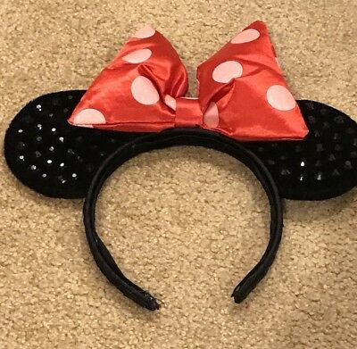 Disney World Parks Minnie Mouse Ears Red Polka Dot Black Sequin Headband Bow