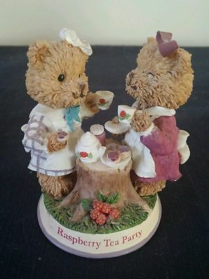 """1999 Smuckers Berry Patch Bears Raspberry Tea Party Vntg Promotional Figurine 3"""""""