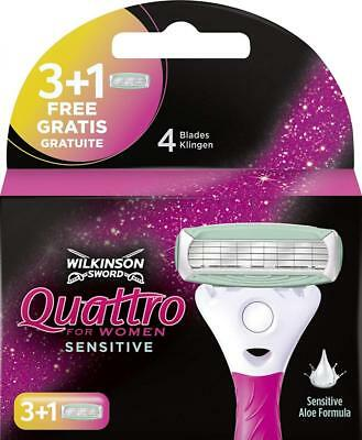 Wilkinson Sword Quattro for Women Sensitive 3 Rasierklingen + 1 Klinge Gratis