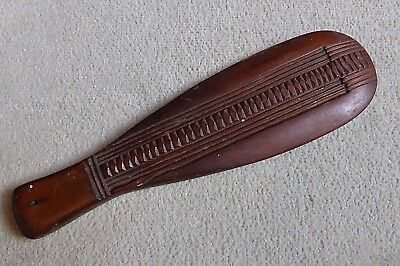 Good Vintage South Pacific New Zealand Maori Carved Wooden Hand Club Polynesian