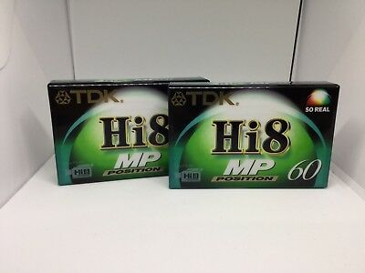 2x New & Sealed TDK Hi8 MP Position 60 P5-60HMPPED Tapes