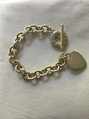 Tiffany & Co Sterling Silver Heart Tag Charm Bracelet! 8""