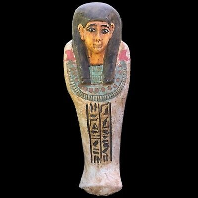 EGYPTIAN HIEROGLYPHIC SHABTI, LATE PERIOD 664 - 332 BC LARGE! OVER 14cm Tall (4)