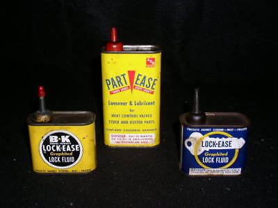 Lot of 3 Vintage Lock Ease Lock Fluid Tins Cans Auto Shop Farm Garage