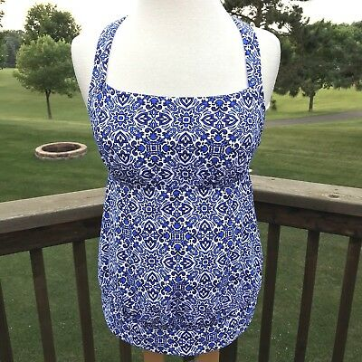 4d1df2dac0 New $70 Lands End Tankini Swimsuit RB Top Womens 4 Blouson Blue Majolica  Padded