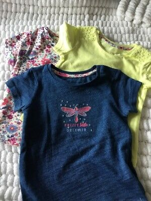 Baby Girl Tshirt Bundle 3 Tshirts Mothercare 9-12 Months NEW LOW POSTAGE