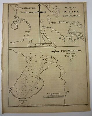 1777 COOK VOYAGE Antique Map PORT SANDWICH in MALLICOLO, New Caledonia Harbour