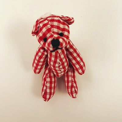 Mini Miniature Tiny Teddy Bear Red Gingham Dollhouse Toy Accessories Decoration