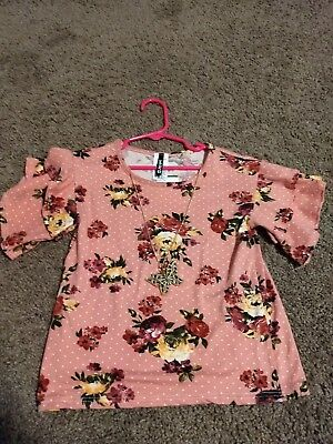 Instagirl girls top size 5/6 floral print with necklace