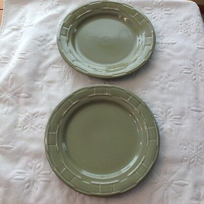 Longaberger Dinner Plates (2) Sage Green Pottery (Made in USA)