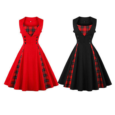 Stylish A-Line Dress Party Pinup Cocktail Plaid Evening Swing Dress 50s 60s