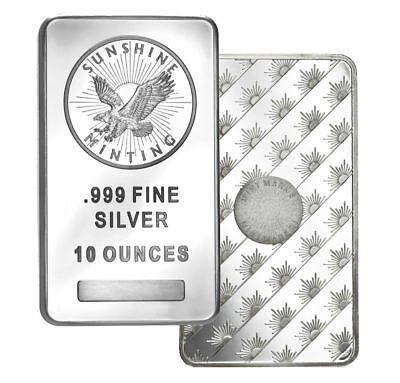10 Oz  Sunshine Mint .999 Silver Bar New, Mint Mark SI In AIRTITE PLASTIC HOLDER