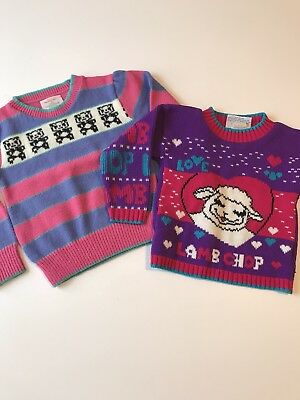Vintage Toddler Girl Knit Sweaters Small 4T 5 6 Healthtex Pink Purple