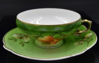 H&C Heinrich & Co. Selb Bavaria Green with Hand Painted Pear Cup and Saucer Set