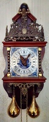 Vintage Dutch Hermle Wall Clock - Delft Tile Face - Perfect & Full Working Order