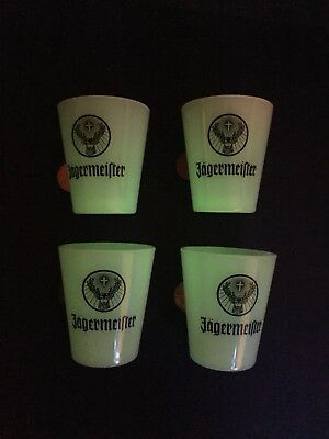 """Set of 4 Jagermeister """"Glow in the Dark"""" Shot Glasses - Fun Mancave Bar Party"""