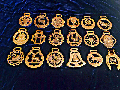 Lot of 18 Solid Brass Horse Harness Bridal Tack Medallions - Vintage