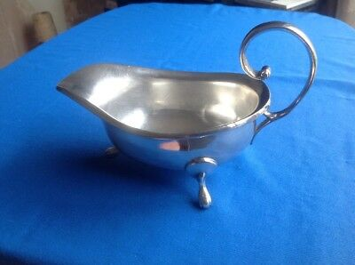 Vintage Or Antique Silver Plated Three Legged Gravy Boat With Scrolled Handle