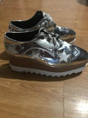 04daccb7f38cae Patent Leather Women Punk Platform Oxfords Wedge Sneakers Shoes US8.5 Silver