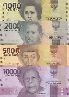Indonesia 4 Note Set: 1000 to 10000 Rupiah (2016) - all pNew UNC