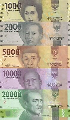 Indonesia 5 Note Set: 1000 to 20000 Rupiah (2016) - all pNew UNC