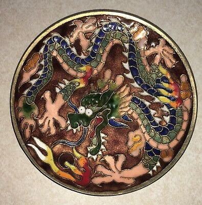 "Small 3 13/16"" Antique Chinese Ornate Colorful Cloisonne Plate with Dragon"