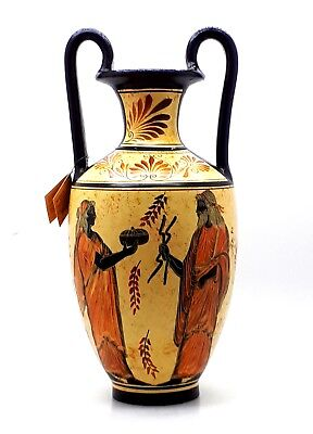 AMPHORA Vase Greek Ceramic Pottery Painting Goddess Hera & God Zeus HANDMADE