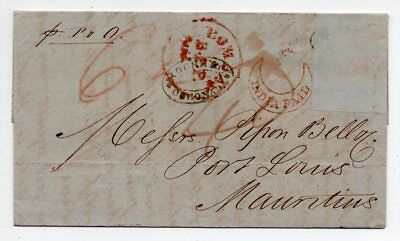 1861 India To Mauritius Cover, Cocanada, Bombay, India Paid Red Cancels