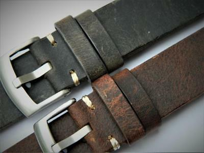 Handmade Watch Strap Nubuck Double Layer Cowhide Corners Stitch Vintage Effect