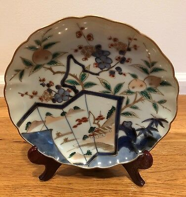 China Chinese or Japanese Porcelain Plate with Flowers and Grass
