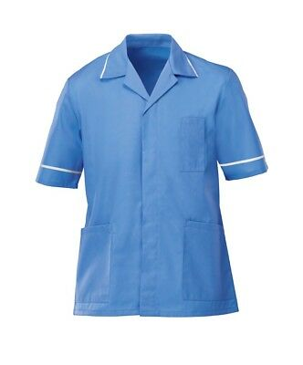 Mens Healthcare Tunic Male Nurse Nhs Dentist Vet Uniform. Hospital Blue, Ins37Hb