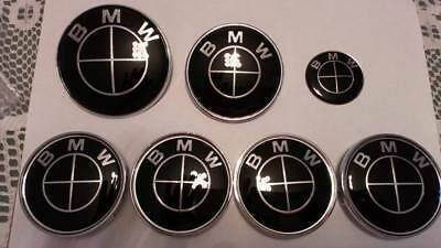 7PC FULL BLACK BADGE SET, - FRONT, REAR, ST WHEEL, 4 X CENTRECAPS - for bmw