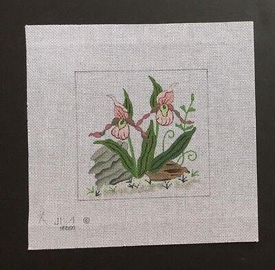 Julie Mar Hand-painted Needlepoint Canvas Delicate Lady Slipper Flowers