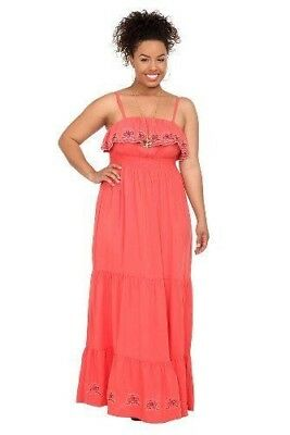 TORRID CORAL MAXI Dress Ruffle Embroidered Dress Plus Size 0 0X Sundress