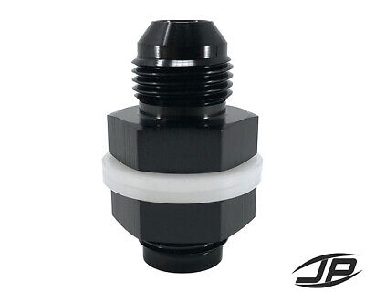 -10 AN AN10 Flare Fuel Cell Bulkhead Fitting With Teflon Washer BLACK