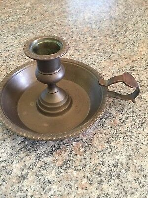 Antique Old Brass Chamber Stick Candle Holder w Finger Loop Handle 7.6 oz