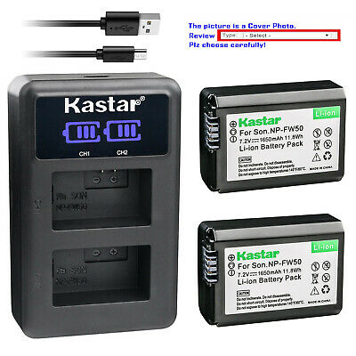 Kastar Battery LCD Dual Charger for Genuine Sony NP-FW50 & Original Sony BC-VW1
