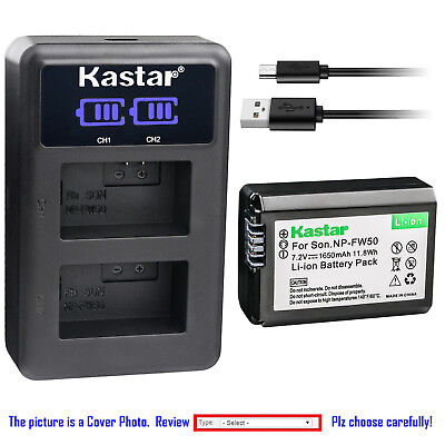 Kastar Battery LCD Dual Charger for Sony NP-FW50 W Series Sony ILCE-7 Alpha 7 a7